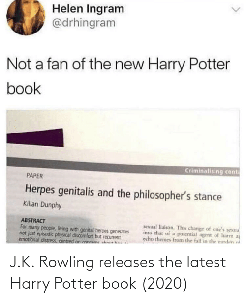 K: J.K. Rowling releases the latest Harry Potter book (2020)