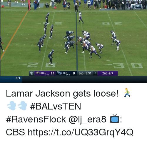 Memes, Nfl, and Cbs: JA  32  O NFL  14TEN 0 3RD 831 8 2ND & 9  (3-2  --  (3-2)  NFL Lamar Jackson gets loose! 🏃💨💨  #BALvsTEN #RavensFlock @lj_era8  📺: CBS https://t.co/UQ33GrqY4Q