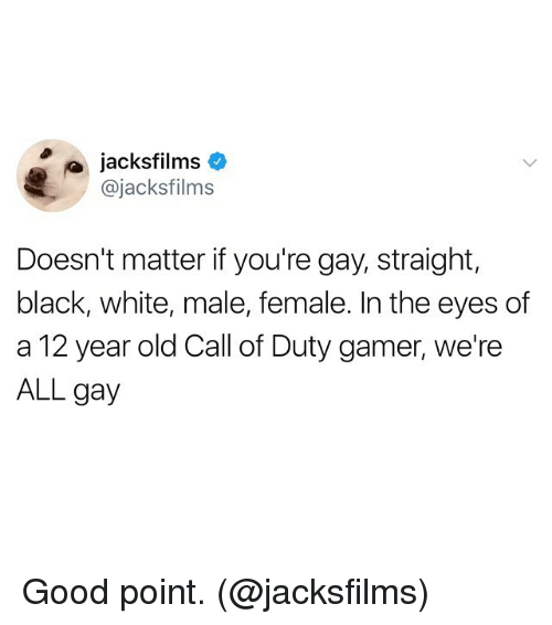 Funny, Black, and Call of Duty: jacksfilms  @jacksfilms  Doesn't matter if you're gay, straight,  black, white, male, female. In the eyes df  a 12 year old Call of Duty gamer, we're  ALL gay Good point. (@jacksfilms)