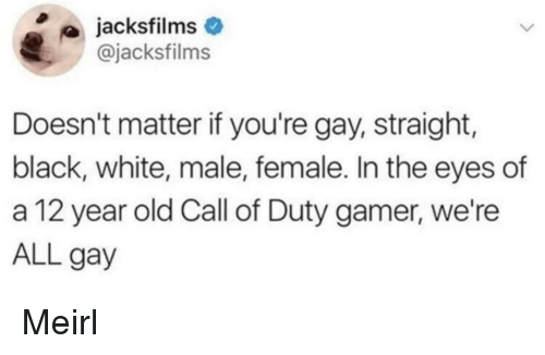 black & white: jacksfilms  @jacksfilms  Doesn't matter if you're gay, straight,  black, white, male, female. In the eyes of  a 12 year old Call of Duty gamer, we're  ALL gay Meirl