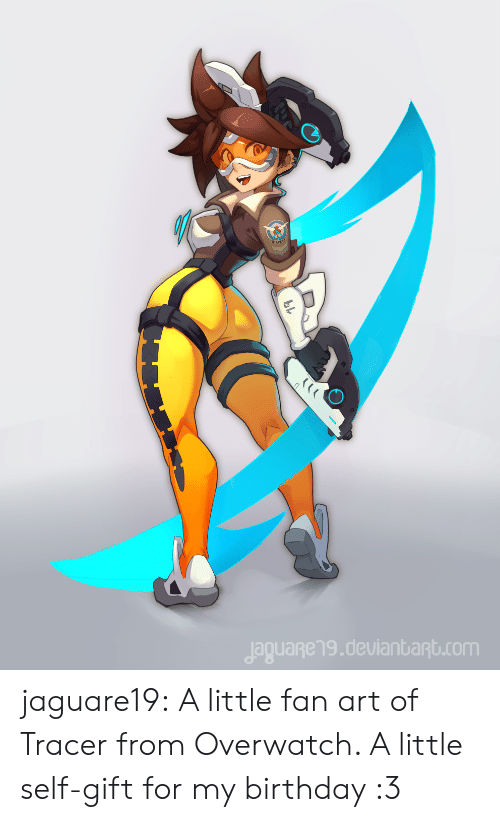 fan art: jaguageng.deulanbant.com jaguare19:    A little fan art of Tracer from Overwatch. A little self-gift for my birthday :3