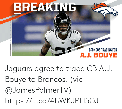 jaguars: Jaguars agree to trade CB A.J. Bouye to Broncos. (via @JamesPalmerTV) https://t.co/4hWKJPH5GJ