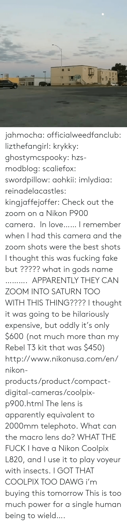 Apparently, Fake, and Fucking: jahmocha:  officialweedfanclub:  lizthefangirl:  krykky:  ghostymcspooky:  hzs-modblog:  scaliefox:  swordpillow:  aohkii:  imlydiaa:  reinadelacastles:  kingjaffejoffer:  Check out the zoom on a Nikon P900 camera.  In love……   I remember when I had this camera and the zoom shots were the best shots  I thought this was fucking fake but ????? what in gods name ……….   APPARENTLY THEY CAN ZOOM INTO SATURN TOO WITH THIS THING????  I thought it was going to be hilariously expensive, but oddly it's only $600 (not much more than my Rebel T3 kit that was $450) http://www.nikonusa.com/en/nikon-products/product/compact-digital-cameras/coolpix-p900.html The lens is apparently equivalent to 2000mm telephoto.  What can the macro lens do?  WHAT THE FUCK  Ihave a Nikon Coolpix L820, and I use it to play voyeur with insects.   I GOT THAT COOLPIX TOO DAWG   i'm buying this tomorrow   This is too much power for a single human being to wield….