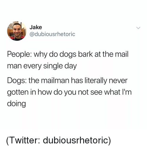 Dogs, Twitter, and Mail: Jake  @dubiousrhetoric  People: why do dogs bark at the mail  man every single day  Dogs: the mailman has literally never  gotten in how do you not see what I'm  doing (Twitter: dubiousrhetoric)