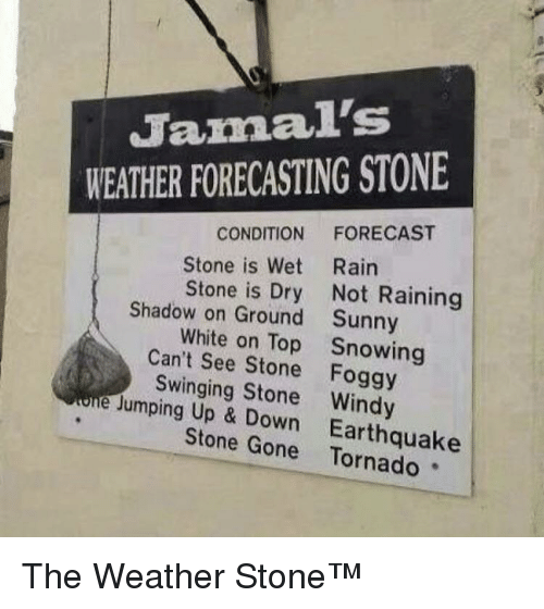 Earthquake: Jamal's  WEATHER FORECASTING STONE  CONDITION FORECAST  Stone is Wet Rairn  Stone is Dry Not Raining  Sunny  Snowing  Shadow on Ground  White on Top  Can't See Stone Foggy  Swinging Stone Windy  Jumping Up & Down  Earthquake  Stone Gone Tornado The Weather Stone™