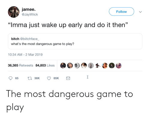 """the most dangerous game: jamee.  @JayWiick  Follow  353  """"Imma just wake up early and do it then""""  bitch @biitchface  what's the most dangerous game to play?  10:34 AM- 2 Mar 2019  36,385 Retweets 84,803 Likes The most dangerous game to play"""