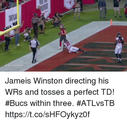 jameis winston: Jameis Winston directing his WRs and tosses a perfect TD!  #Bucs within three. #ATLvsTB https://t.co/sHFOykyz0f