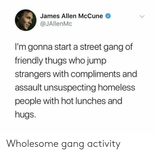 Homeless, Gang, and Wholesome: James Allen McCune  @JAllenMc  I'm gonna start a street gang of  friendly thugs who jump  strangers with compliments and  assault unsuspecting homeless  people with hot lunches and  hugs. Wholesome gang activity