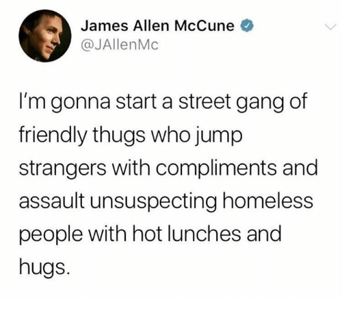 thugs: James Allen McCune o  @JAllenMc  I'm gonna start a street gang of  friendly thugs who jump  strangers with compliments and  assault unsuspecting homeless  people with hot lunches and  hugs.