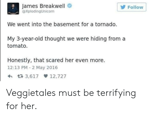 Tornado, Old, and Thought: James Breakwell  XplodingUnicorn  Follow  We went into the basement for a tornado.  My 3-year-old thought we were hiding from a  tomato.  Honestly, that scared her even more.  12:13 PM 2 May 2016  3,617 12,727 Veggietales must be terrifying for her.