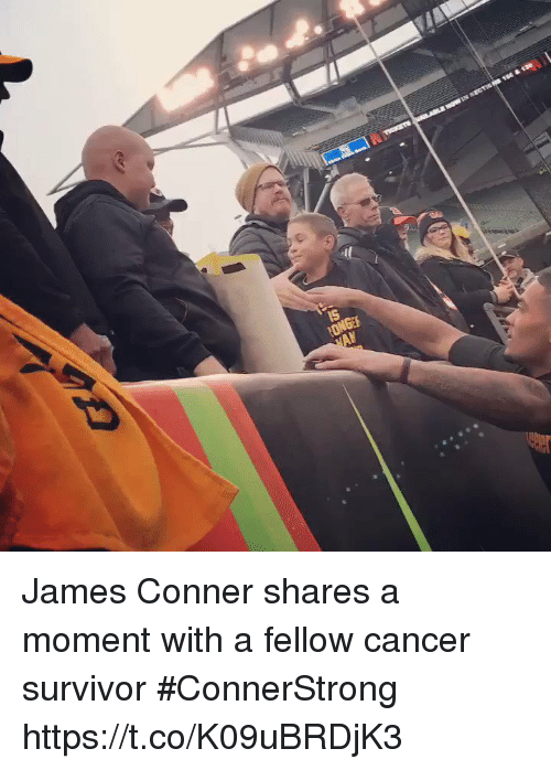 Football, Nfl, and Sports: James Conner shares a moment with a fellow cancer survivor #ConnerStrong https://t.co/K09uBRDjK3