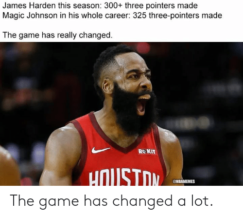 James Harden, Magic Johnson, and Nba: James Harden this season: 300+ three pointers made  Magic Johnson in his whole career: 325 three-pointers made  The game has really changed.  RO KIT  uOUSTOM  @NBAMEMES The game has changed a lot.