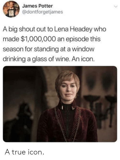 Drinking, True, and Lena Headey: James Potter  @dontforgetjames  A big shout out to Lena Headey who  made $1,000,000 an episode this  season for standing at a windovw  drinking a glass of wine. An icon. A true icon.