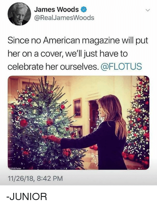 Memes, American, and James Woods: James Woods  @RealJamesWoods  Since no American magazine will put  her on a cover, we'll just have to  celebrate her ourselves. @FLOTUS  11/26/18, 8:42 PM -JUNIOR