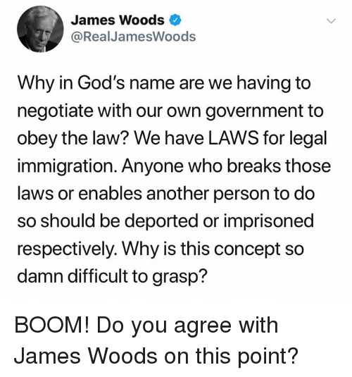 respectively: James Woods  @RealJamesWoods  Why in God's name are we having to  negotiate with our own government to  obey the law? We have LAWS for legal  immigration. Anyone who breaks those  laws or enables another person to do  so should be deported or imprisoned  respectively. Why is this concept so  damn difficult to grasp? BOOM!  Do you agree with James Woods on this point?