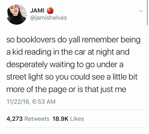 Waiting..., Page, and Car: JAMI  @jamishelves  so booklovers do yall remember being  a kid reading in the car at night and  desperately waiting to go under a  street light so you could see a little bit  more of the page or is that just me  11/22/18, 6:53 AM  4,273 Retweets 18.9K Like:s