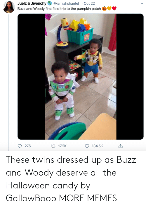 Candy, Dank, and Field Trip: @jamiahshantel Oct 22  Juelz & Jivenchy  Buzz and Woody first field trip to the pumpkin patch  276  t17.2K  134.5K These twins dressed up as Buzz and Woody deserve all the Halloween candy by GallowBoob MORE MEMES