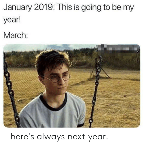 Dank, 🤖, and Next: January 2019: This is going to be my  year!  March: There's always next year.