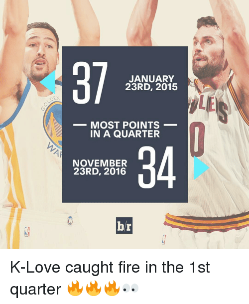 Sports, K Love, and Quarter: JANUARY  23RD, 2015  MOST POINTS  IN A QUARTER  NOVEMBER  23RD, 2016  br K-Love caught fire in the 1st quarter 🔥🔥🔥👀