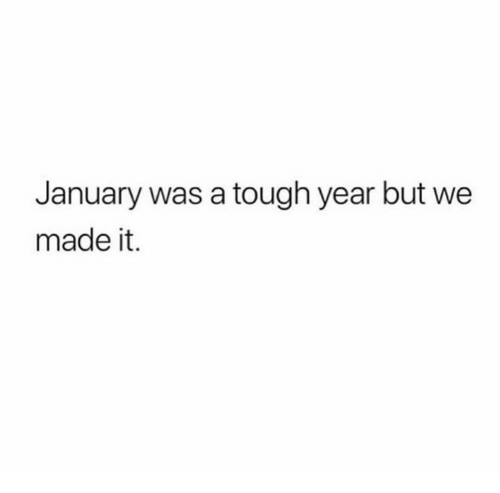 Tough, We Made It, and Made: January was a tough year but we  made it.