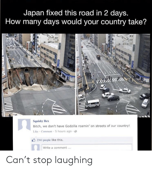 Godzilla: Japan fixed this road in 2 days.  How many days would your country take?  Squishy Rex  Bitch, we don't have Godzilla roamin' on streets of our country!  Like Comment 5 hours ago  2361 people like this.  Write a comment Can't stop laughing