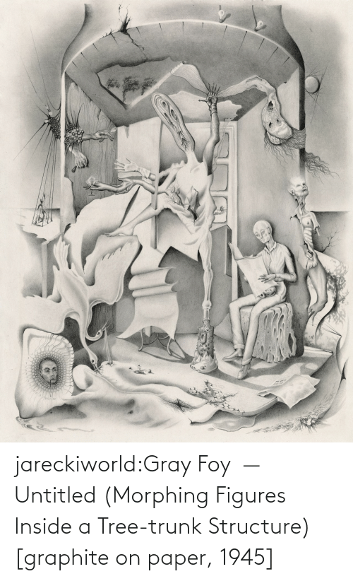 Untitled: jareckiworld:Gray Foy  —  Untitled (Morphing Figures Inside a Tree-trunk Structure) [graphite on paper, 1945]