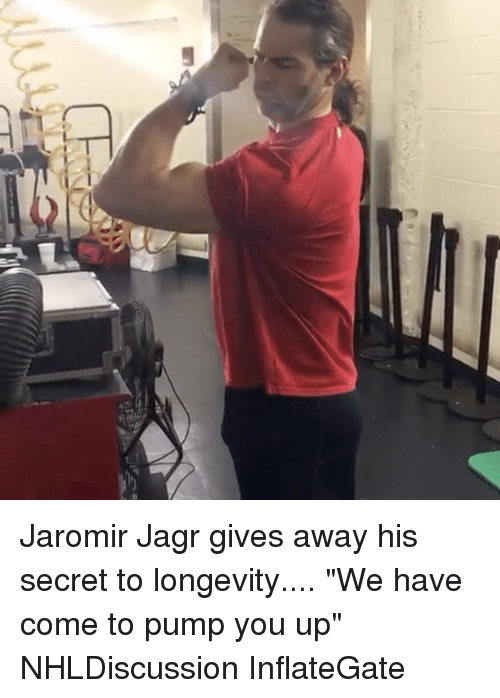 "Memes, 🤖, and Secret: Jaromir Jagr gives away his secret to longevity.... ""We have come to pump you up"" NHLDiscussion InflateGate"