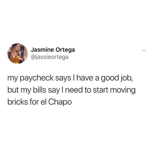 paycheck: Jasmine Ortega  @jassieortega  my paycheck says I have a good job  but my bills say I need to start moving  bricks for el Chapo