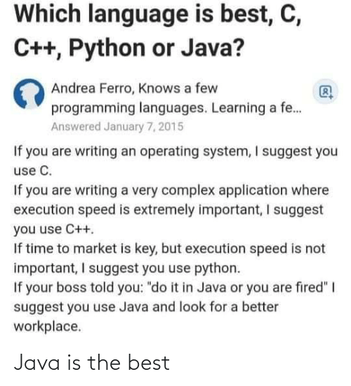 Java: Java is the best