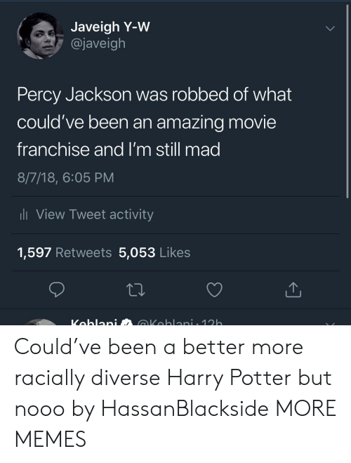 percy jackson: Javeigh Y-W  @javeigh  Percy Jackson was robbed of what  could've been an amazing movie  franchise and I'm still mad  8/7/18, 6:05 PM  li View Tweet activity  1,597 Retweets 5,053 Likes Could've been a better more racially diverse Harry Potter but nooo by HassanBlackside MORE MEMES