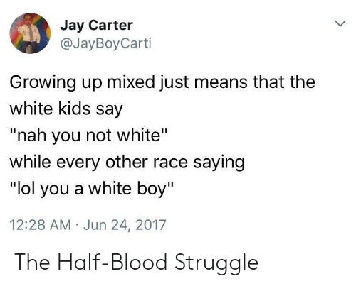 """Growing Up, Jay, and Lol: Jay Carter  @JayBoyCarti  Growing up mixed just means that the  white kids say  """"nah you not white'""""  while every other race saying  """"lol you a white boy""""  12:28 AM Jun 24, 2017 The Half-Blood Struggle"""