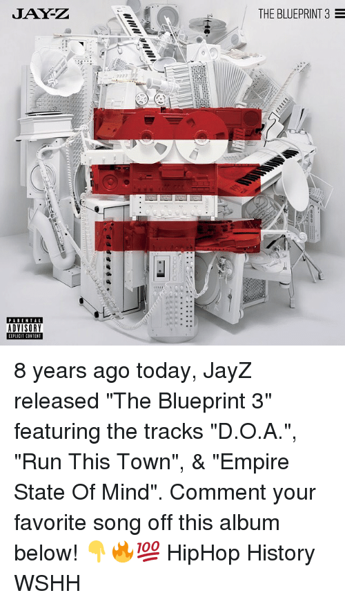 """contention: JAY-Z  THE BLUEPRINT 3  PARENTAL  ADVISORY  IPLICIT CONTENT 8 years ago today, JayZ released """"The Blueprint 3"""" featuring the tracks """"D.O.A."""", """"Run This Town"""", & """"Empire State Of Mind"""". Comment your favorite song off this album below! 👇🔥💯 HipHop History WSHH"""