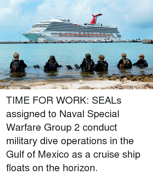 Memes, Work, and Cruise: Jayme Pastoic/DVIDS TIME FOR WORK: SEALs assigned to Naval Special Warfare Group 2 conduct military dive operations in the Gulf of Mexico as a cruise ship floats on the horizon.