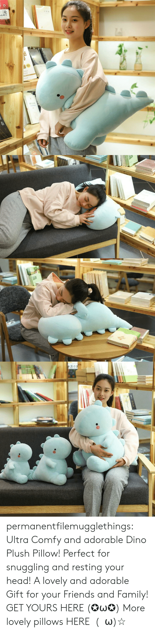 dino: JD  三论  laint  orld  TDNAR  ww.e permanentfilemugglethings:  Ultra Comfy and adorable Dino Plush Pillow! Perfect for snuggling and resting your head! A lovely and adorable Gift for your Friends and Family! GET YOURS HERE (✪ω✪) More lovely pillows HERE  (・ω)☆