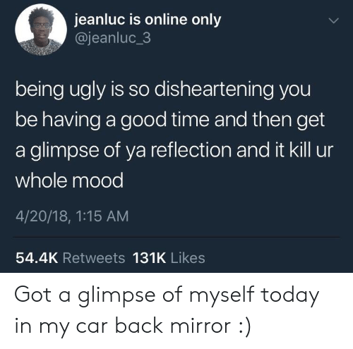 4 20: jeanluc is online only  @jeanluc_3  being ugly is so dishearten ing you  be having a good time and then get  a glimpse of ya reflection and it kill ur  whole mood  4/20/18, 1:15 AM  54.4K Retweets 131K Likes Got a glimpse of myself today in my car back mirror :)