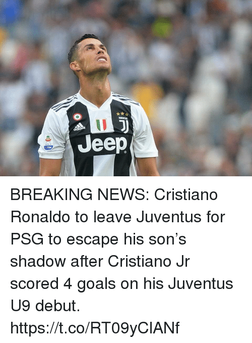 Cristiano Ronaldo, Goals, and News: Jeep  TİM BREAKING NEWS: Cristiano Ronaldo to leave Juventus for PSG to escape his son's shadow after Cristiano Jr scored 4 goals on his Juventus U9 debut. https://t.co/RT09yClANf