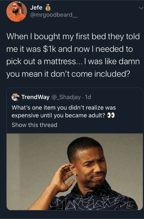 needed: Jefe  @mrgoodbeard_  When I bought my first bed they told  me it was $1k and now I needed to  pick out a mattress... I was like damn  you mean it don't come included?  TrendWay @_Shadjay 1d  What's one item you didn't realize was  expensive until you became adult?  Show this thread