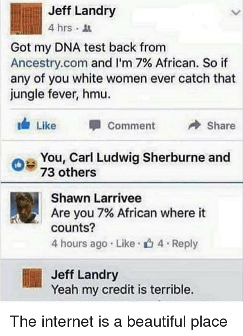 A Beautiful Place: Jeff Landry  4 hrs .  Got my DNA test back from  Ancestry.com and I'm 7% African. So if  any of you white women ever catch that  jungle fever, hmu.  Like 甲Comment →Share  oe You, Carl Ludwig Sherburne and  73 others  Shawn Larrivee  Are you 7% African where it  counts?  4 hours ago . Like-山4 . Reply  Jeff Landry  Yeah my credit is terrible. The internet is a beautiful place