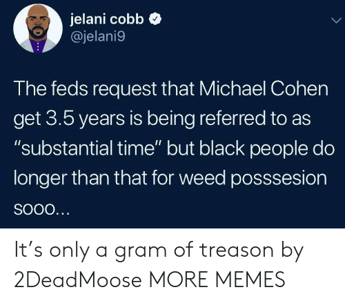 "Feds: jelani cobb  @jelani9  The feds request that Michael Cohen  get 3.5 years is being referred to as  ""substantial time"" but black people do  longer than that for weed posssesion It's only a gram of treason by 2DeadMoose MORE MEMES"