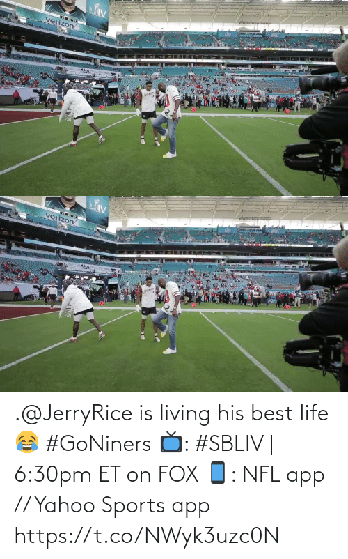 Living: .@JerryRice is living his best life 😂 #GoNiners  📺: #SBLIV | 6:30pm ET on FOX 📱: NFL app // Yahoo Sports app https://t.co/NWyk3uzc0N