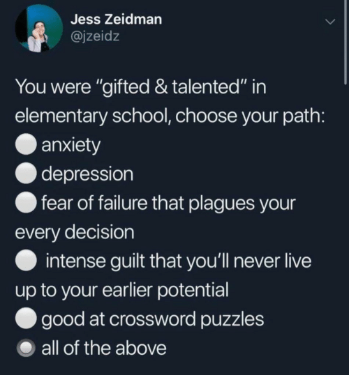 "School, Anxiety, and Depression: Jess Zeidman  @jzeidz  You were ""gifted & talented"" in  elementary school, choose your path  anxiety  depression  fear of failure that plagues your  every decision  intense guilt that you'll never live  up to your earlier potential  good at crossword puzzles  all of the above"