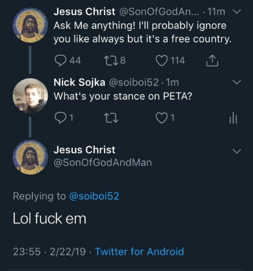 Android, Jesus, and Lol: Jesus Christ @SonOf GodAn... . 11m  Ask Me anything! I'll probably ignore  you like always but it's a free country.  944 t28 114  Nick Sojka @soiboi52.1m  What's your stance on PETA?  Jesus Christ  @SonOfGodAndMan  Replying to @soiboi52  Lol fuck em  23:55 2/22/19 Twitter for Android