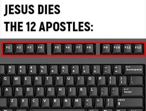 K: JESUS DIES  THE 12 APOSTLES:  F1  F2  F3  FS  F6  F7  F8  F9  F10 F11 F12  F4  &  Backspace  3  R  Y  A  G  K  Enter  Shift