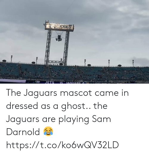 jaguars: JETS  IAGUARS  VS The Jaguars mascot came in dressed as a ghost.. the Jaguars are playing Sam Darnold 😂 https://t.co/ko6wQV32LD