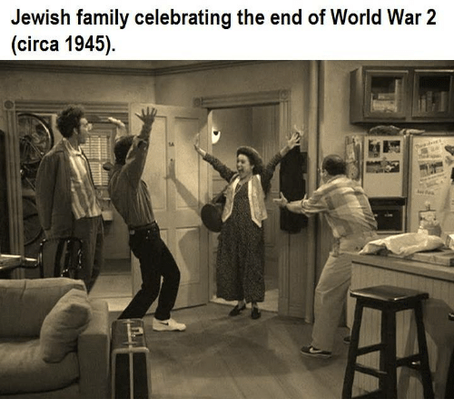 end of world: Jewish family celebrating the end of World War 2  (circa 1945).