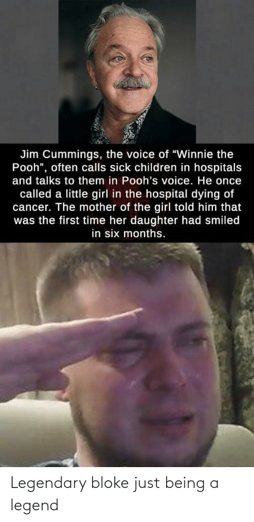 "Hospital: Jim Cummings, the voice of ""Winnie the  Pooh"", often calls sick children in hospitals  and talks to them in Pooh's voice. He once  called a little girl in the hospital dying of  cancer. The mother of the girl told him that  was the first time her daughter had smiled  in six months. Legendary bloke just being a legend"