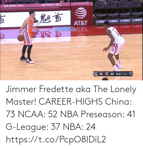 career: Jimmer Fredette aka The Lonely Master!   CAREER-HIGHS China: 73 NCAA: 52 NBA Preseason: 41  G-League: 37 NBA: 24   https://t.co/PcpO8IDiL2