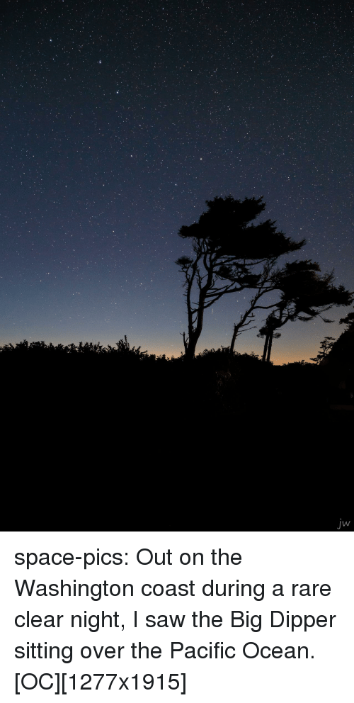 Saw, Tumblr, and Blog: Jin space-pics:  Out on the Washington coast during a rare clear night, I saw the Big Dipper sitting over the Pacific Ocean. [OC][1277x1915]