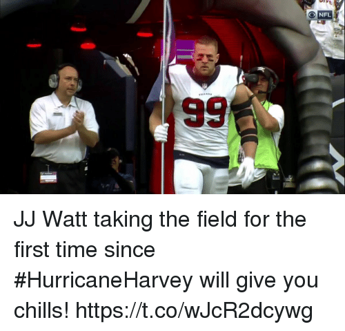 Football, Nfl, and Sports: JJ Watt taking the field for the first time since #HurricaneHarvey will give you chills! https://t.co/wJcR2dcywg