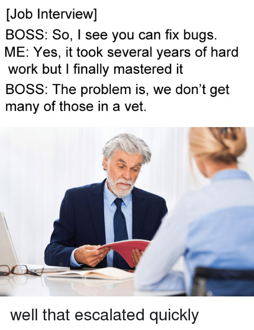 Job Interview, Work, and Programmer Humor: [Job Interview]  BOSS: So, I see you can fix bugs.  ME: Yes, it took several years of hard  work but I finally mastered it  BOSS: The problem is, we don't get  many of those in a vet.